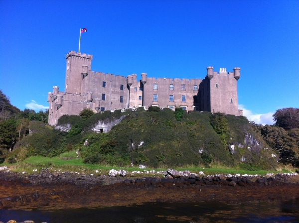 Dunvegan Castle sits overlooking the water.