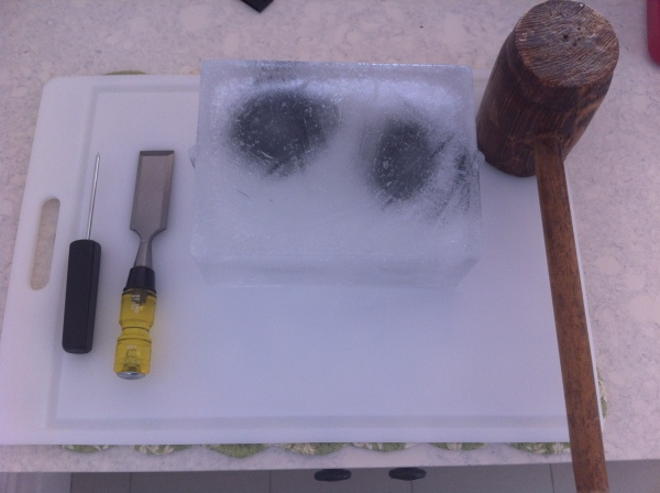 With a block this big, you need additional tools: An ice pick and a chisel.